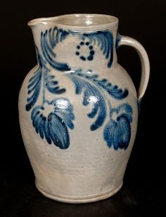 Stoneware Pitcher with Elaborate Bold Floral