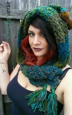 FREE CROCHET PATTERN - Woodland Pixie Hood - easy fun pattern you can use that crazy fun yarn you have or have always wanted to buy but have no reason to.  Now you do!