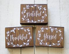 Thanksgiving Signs, Grateful Thankful Blessed Signs, Thanksgiving Decor, Thankful Wood Blocks, Blessed Shelf Sitter, Fall Decor Wood Blocks by TinSheepShop on Etsy