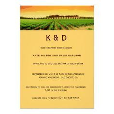 Vineyard Sunset Winery Wedding Invitation