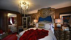 Alex Donovan's favourite room, the bedroom. A chandelier hangs over the foot of the bed upon which a large red throw sits. (Fred Lum/The Glo. Red Throw, Throne Room, French Antiques, Interior Decorating, Bedrooms, Home And Garden, Chandelier, Interiors, Decoration