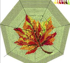 Maple leaf pattern for round bag, purse. Bead crochet