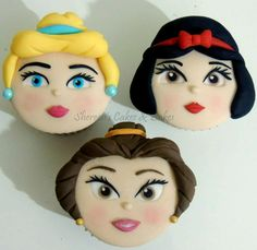 Princess Faces Cupcakes Free tutorial for these on my FB page - Shereen's Cakes & Bakes Beautiful Cupcakes, Cute Cupcakes, Amazing Cupcakes, Cake Pops, Disney Princess Cupcakes, Princess Party, Macarons, Princess Face, Cake Craft
