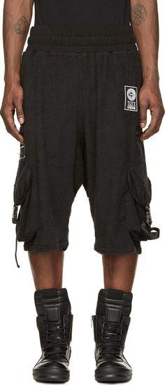 KTZ Black Terrycloth Patched Sarouel Shorts. #ktz #cloth #shorts