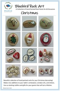 Hand painted rocks for Christmas and Holiday decorating! Also make great stocking stuffers or additions to your table centerpiece. Rock Crafts, Fall Crafts, Holiday Crafts, Arts And Crafts, Painted River Rocks, Hand Painted Rocks, Christmas Rock, Christmas Time, Christmas Ideas
