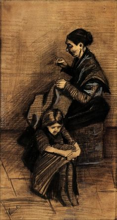 Woman Sewing, with a Girl Vincent Van Gogh Reproduction   1st Art Gallery