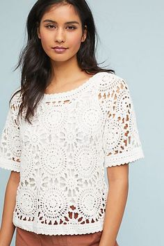 Discover unique sale clothing for women at Anthropologie. Shop all sale dresses, tops, bottoms, jackets & more on sale. Crochet Long Sleeve Tops, Knit Crochet, Crochet Designs, Crochet Patterns, Crochet Pullover Pattern, Honeymoon Outfits, Irish Lace, Crochet Fashion, Crochet Clothes