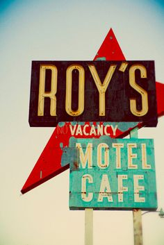 Roy's Motel and Cafe Vintage Neon Sign - Route 66 Road Trip - Mid Century Modern - Amboy California - 12X18 Fine Art Photograph. $60.00, via Etsy.
