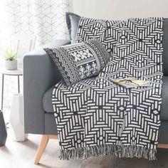 Überwurf aus Baumwolle, schwarz/weiß, 160 x 210cm, EVORA