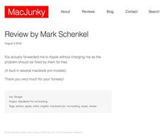 Review: Thank you very much for your honesty!  https://macjunky.nl/mark-schenkel  #apple #repair #advice #amsterdam