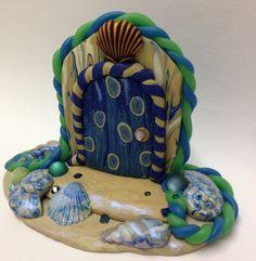 Seaside Fairy Door. Faerie Door, Fairies, Polymer Clay Sculpture, Swarovski Crystals, Ocean Theme, Seaside, Seashells, Fairy Dust, Handmade