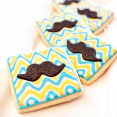 Retro Mustache Shower Cookie Favors // 1 doz by PastryTartBakery