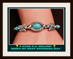 Vintage Style Butterfly Bracelet With Synthetic Turquoise. Starting at $1