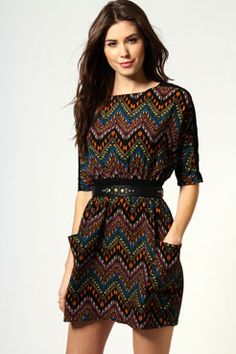 Kylie Pocket Front Printed Solid Waistband Dress