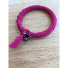 Bangle bracelet made with repurposed red sari silk ribbon ($20) via Polyvore featuring jewelry, bracelets, red jewelry, hinged bangle, ribbon charms, charm bangles and bangle charm bracelet
