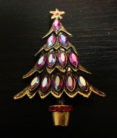 Vintage Weiss Navette RS Signed Christmas Tree Pin Brooch EUC LOOK #Weiss