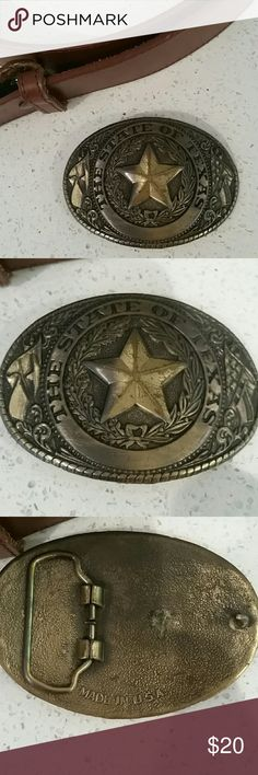 """BUCKLE Made in USA. OLD RUSTY METAL BUCKLE. """"THE STATE OF TEXAS"""" Accessories Belts"""