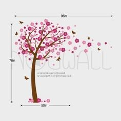 Wall Decals Cherry blossom Tree Wall Decal Butterflies by NouWall
