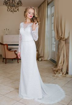 Vintage Long Sleeved Lace A-line Long Wedding Dress