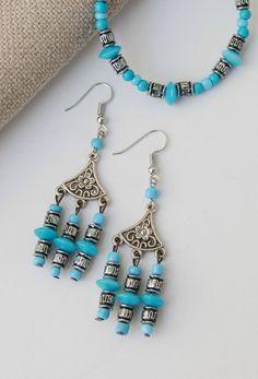 Boho Turquoise color dangle earrings and bracelet SET Tribal Jewelry, Boho Jewelry, Jewlery, Turquoise Color, Turquoise Beads, Seed Bead Necklace, Women's Earrings, Hippie Styles, Summer Jewelry
