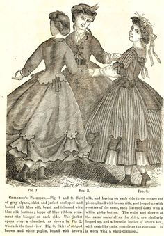 Civil War Fashions - Engravings from 1864 Ladies Friend Magazine - Children's Clothes