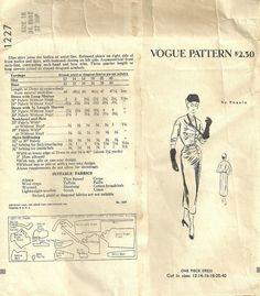 Vogue Paris Original Model 1227 dress pattern by Paquin (back of env)