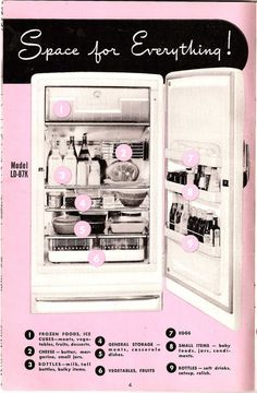 General Electric Refrigerator: Page from the Owner's Manual to my parent's first refrigerator, 1969