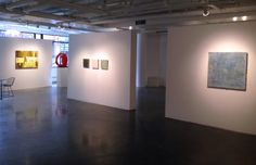 "Winter Salon I 2015, CIRCA Gallery (l-r) Barry Maxwell ""Smokescreen,"" Ann Ledy ""Deconstruction of a Circle in Red,"" Shawna Moore ""Suspension"" series of 3 SOLD, James Beaman ""Tahiti"" SOLD"