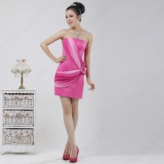 Voilet Slim Figure Froal Pleat Strapless Evening Party Dress