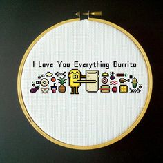 Adventure Time Cross Stitch PDF Pattern - I Love You Everything Burrito. $3.00, via Etsy.
