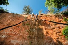 Red Rock Canyon in Hinton is a great spot for rock climbing! There is also hiking, fishing, camping and lots of other outdoor recreation at this beautiful pet friendly state park in Oklahoma.