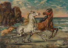 Giorgio de Chirico Horses on the sea shore 1950 Cardboard Painting, Basic Painting, White Horses, Italian Artist, Renoir, Magazine Art, Art Market, Oil On Canvas, Artwork