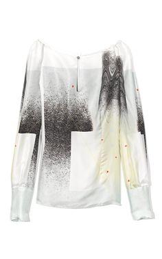 Carolina Herrera Modern Art Print Twill Blouson Sleeve Keyhole Blouse at Moda Operandi