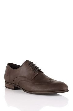 'Berlor' | Leather Lace-Up Casual Shoe, Dark Brown