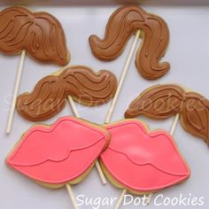 Sugar Dot Cookies: Mustache and Lips Sugar Cookie Pops