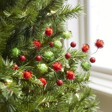 Red & Green Pom Pom Tree Pick