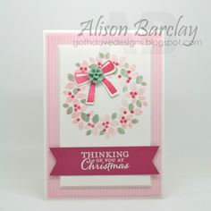 Gothdove Designs - Alison Barclay - Stampin' Up! Australia - Stampin' Up! Wondrous Wreath Christmas Card - Pink & Mint! #stampinup #gothdovedesigns #christmas #card
