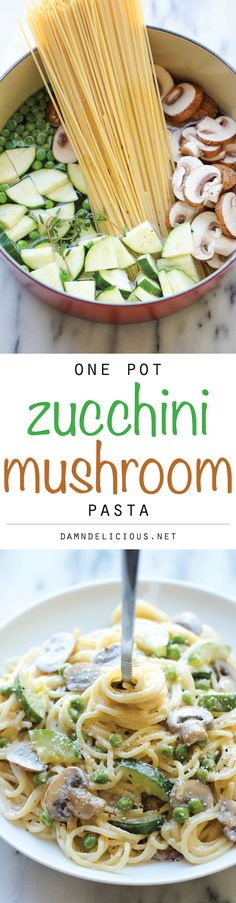 One Pot Zucchini Mushroom Pasta. YUM! Increased the garlic and used milk instead of heavy cream. Next time I'll reduce the water by 1/2 cup. Really, really good!