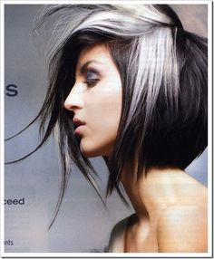 black and white hair - seen this in a magazine in class---I want this in my hair, NOW!