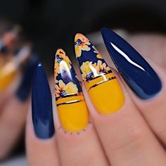 50 Pretty Ways To Wear Dark Blue Nails – 9 - 50 Pretty Ways to Wear Dark Blue Nails – navy blue nails, navy blue nail art, nail art design - Dark Blue Nails, Navy Nails, Navy Nail Art, Black Nail, Gorgeous Nails, Pretty Nails, Ten Nails, Gel Nagel Design, Sally Hansen