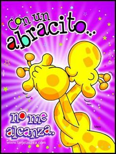 Con un abracito... no me alcanza. Spanish Greetings, Happy Birthday Celebration, Cute Notes, Me Quotes, Doodles, Love You, Inspirational Quotes, Humor, Memes