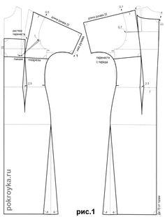 Выкройка платья с короткими цельнокроеными рукавами