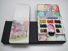 Everyday Artist: My Homemade Sketch Kit for Painting On the Go   using velcro to keep sketchbook and palette stationery for use