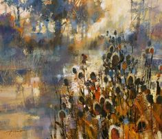 Teasel Heads and Misty River by British Contemporary Artist Chris FORSEY