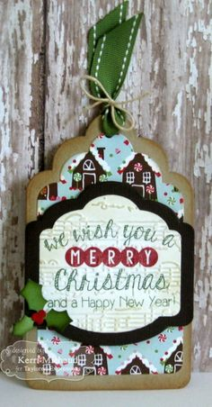 We Wish You A Merry Christmas Tag by Kerri Michaud #Tags, #Christmas, #TEMatched, #EmbossingFolders, #ShareJoy, #TE