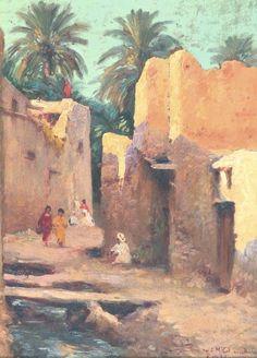 Ruelle dans la casbah. EUGÈNE DELAHOGUE (1867-1935)