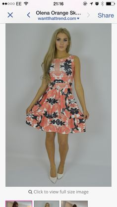 Orange flower skater dress