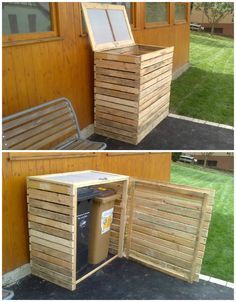 Pallet Garbage Bin Shelter, #RecyclingWoodPallets,  (Dunway Enterprises) For more info (add http:// to the following link) www.dunway.info/pallets/index.html