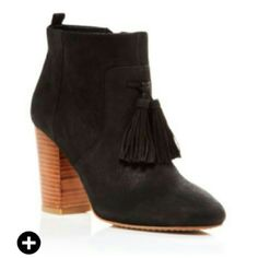 Tassel booties Almond toe, side zipper, 3.75 inch heel, nubuck upper with leather lining French Connection Shoes Ankle Boots & Booties