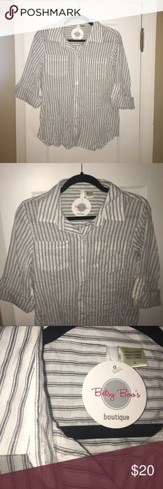100% Cotton Rolled-Sleeve Striped Button Down Top 100% Cotton, NWT, Striped, Lightweight, Light-Blue, Thin-Striped, White Button Down Top, and Rolled-Sleeves with Button-Tabs for Sleeves. Never Worn, Reducing Wardrobe! Tops Button Down Shirts